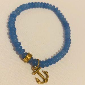 EUC Gold Anchor Blue Bead Stretch Bracelet
